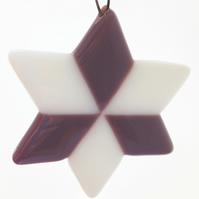 Lilac & White Fused Glass Star Christmas Tree Decoration