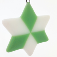 Mint Green & White Fused Glass Star Christmas Tree Decoration