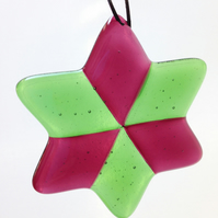 Fused Glass Red & Green Star Christmas Tree Decoration