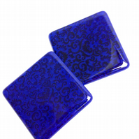 Cobalt Blue Screen Printed Coasters