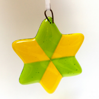 Yellow and light green fused glass Christmas tree decoration