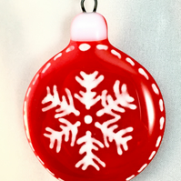 Scandanavian Style Fused Glass Christmas Tree Decoration