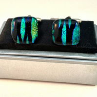 Stripe Patterned Dichroic Glass Cuff Links