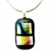 Shimmer Dichroic Glass Patterned Pendant Necklace