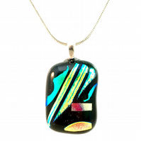 Colourful Stripes and Patterned Dichroic Glass Pendant