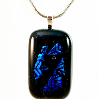 Black and Blue Patterned Dichroic Pendant