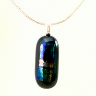 Shimmering Iridescent Fused Dichroic Glass Pill Pendant