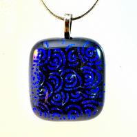 Midnight Blue Swirls Dichroic Glass Pendant