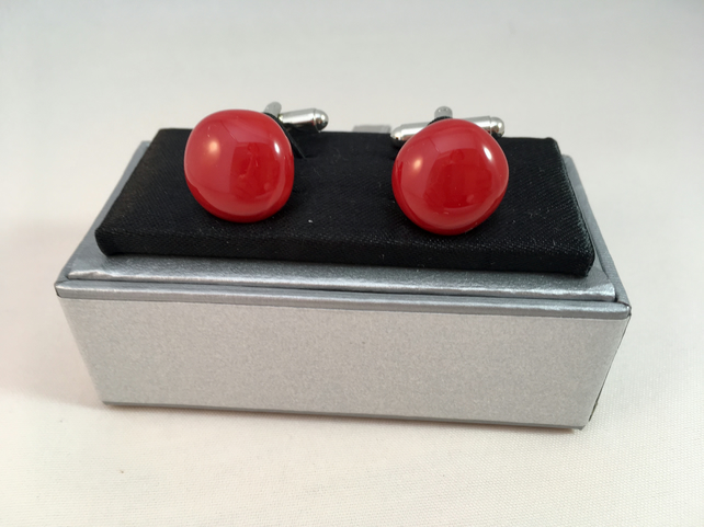 Red Fused Glass Cuff Links