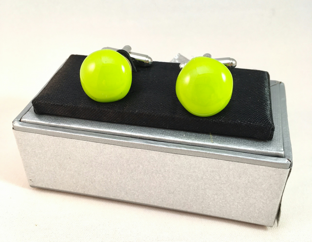 Spring Green Fused Glass Cuff Links