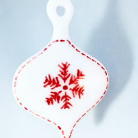 Fused Glass White Scandanavian Christmas Tree Decoration