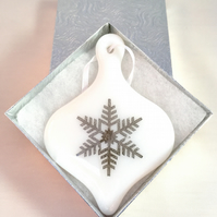 White Fused Glass Snowflake Fused Glass Bauble Christmas Decoration