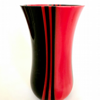 Fused Glass Red & Black Stripe Vase
