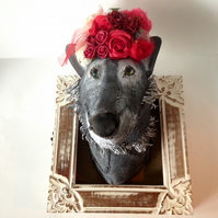 Hand made she wolf faux taxidermy