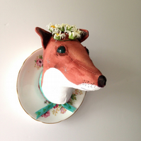 Fox and saucer faux taxidermy