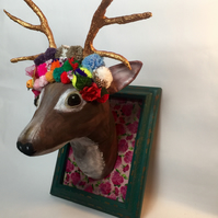 Handmade stag with gold antlers faux taxidermy