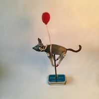 Mouse and red balloon handmade soft sculpture
