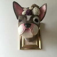 Textile French bulldog with Pom poms