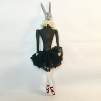 Ballerina hare with red shoes