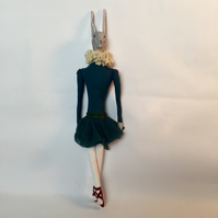 Ballerina hare in teal with red shoes