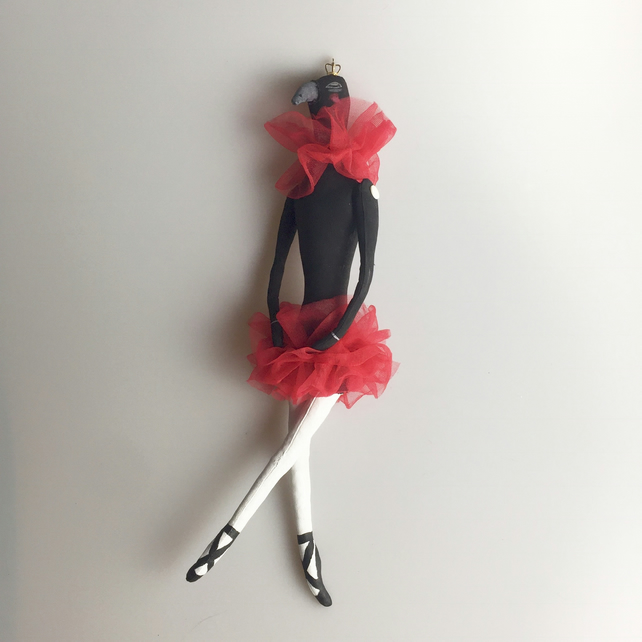 Hand painted crow in a red tutu