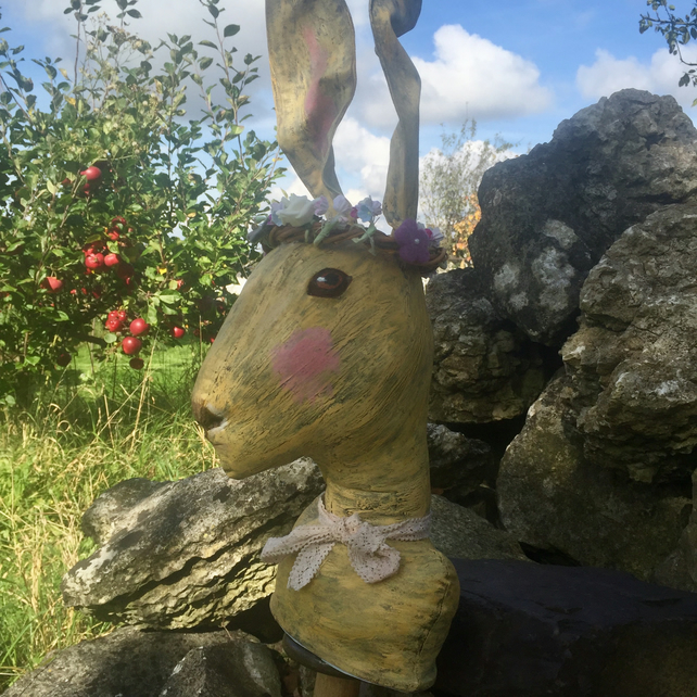 Textile hare with willow and flower garland