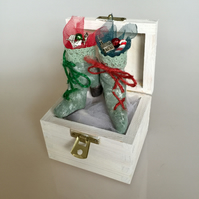 Handmade festive boots in a box