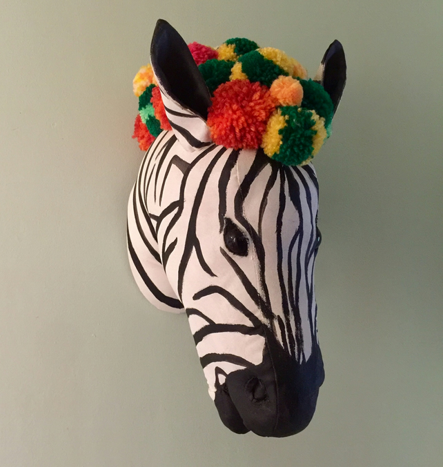 Zebra and Pom poms wall hanging