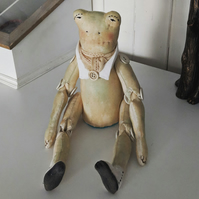 Mr Frog handmade soft sculpture doll