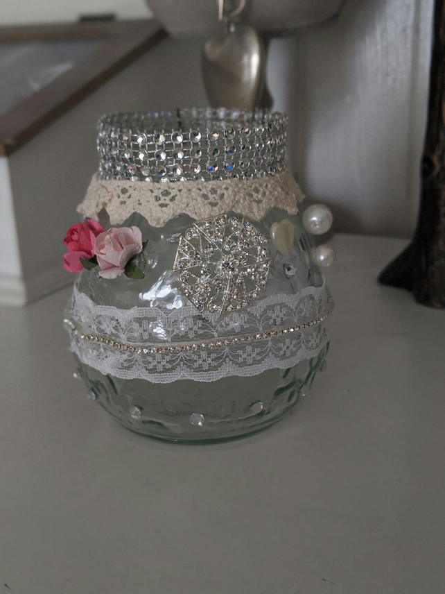 vintage style jewelled candle holder