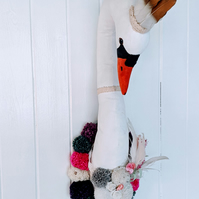 Swan queen faux taxidermy wall hanging