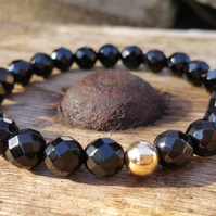 Faceted Onyx Bracelet, 9ct Gold Bracelet, Beaded Bracelet, Stretch Bracelet