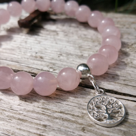 Rose Quartz Beaded Bracelet with Sterling Silver Tree of Life Charm, Bohemian