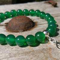 Green Agate Beaded Bracelet with Sterling Silver Peace Sign Charm, Boho Bracelet
