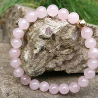Rose Quartz Bracelet, 9ct Gold Bracelet, Beaded Bracelet, Stretch Bracelet