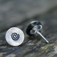 Silver Spiral Stud Earrings, Everyday Silver Earrings, Small Oxidized Earrings