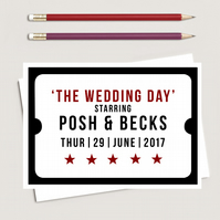 A6 Personalised Old cinema style Save the Date cards x 10