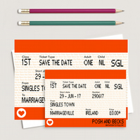 A6 A7 Personalised Train ticket Save the Date cards x 10