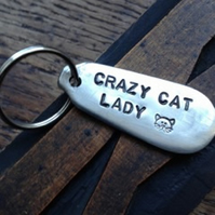 Crazy Cat Lady - Silver Plated Handmade Antique Cutlery Keyring Fob