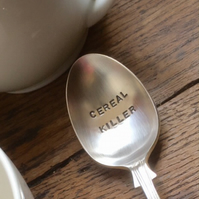 "Quirky ""Cereal Killer"" Antique Silver Plated Spoon - Birthday,Chritmmas Gift"