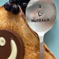 "I ""Heart"" Nutella Spoon - Vintage Handstamped Nutella Spoon"