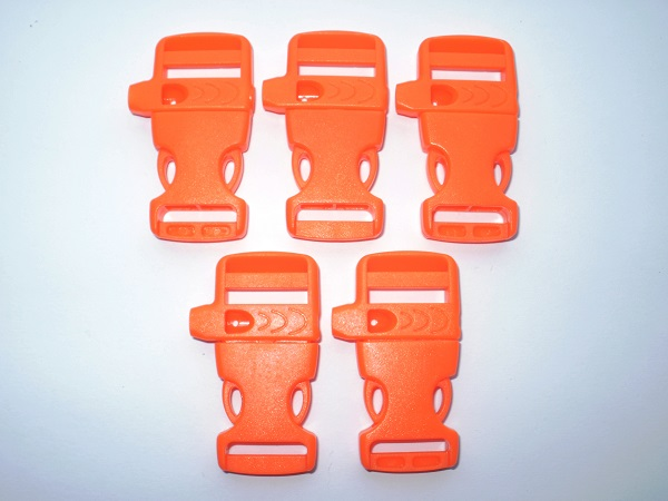5x Side Release Whistle buckles 19mm - Orange Paracord Whistle Buckles