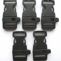 5x Side Release Whistle buckles 19mm - Black Paracord Whistle Buckles