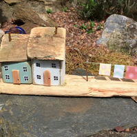 Handmade Cottages on driftwood, miniature, Collectable.