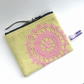 yellow wool coin purse pink doilly
