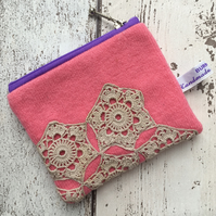 Pink coin purse with vintage doilly