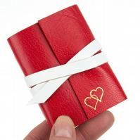 Mini Notebook Red Leather & Gold Hearts. Valentine or Wedding Anniversary gift