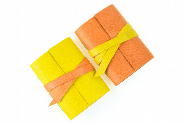 Mini Notebooks: pair of little leather journals in Peach & Lemon. Citrus, Spring