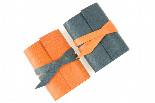 Pair of Miniature Journals: Grey and Peach stocking filler notebooks
