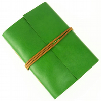 SALE Travel Journal: Green and Tan leather with Friendship quotation